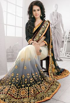 $118.80 Black Net Party Wear Saree 56550