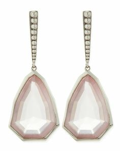 Small+Sterling+Silver+Galactical+Rose+Quartz+Earrings+by+Stephen+Dweck+at+Neiman+Marcus.