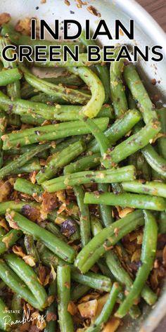 Indian Vegetable Side Dish, Indian Vegetable Recipes, Indian Side Dishes, Vegetable Side Dishes, Veggie Recipes, Indian Food Recipes, Vegetarian Recipes, Indian Foods, Green Beans Recipe Indian
