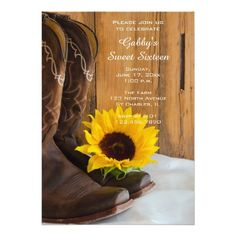 Sunflower Cowboy Boot Sweet 16 Barn Birthday Party 5x7 Paper Invitation Card