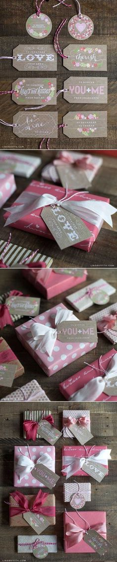 So cute! FREE Printable Valentine's Day Gift Tags via Lia Griffith - These gift tags are ready to download, personalize and print for your perfect Valentine's Day gift topper.