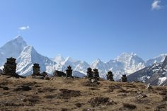 A crisp clear morning in the Himalaya.  Each of the Chortens in front is a memorial to a person who has passed climbing the mountains that they loved.