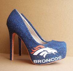 I reallyyyyyyyyy want these!!!!! Denver Broncos High Heels by TattooedMary on Etsy, $120.00