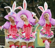 """Dancers in bunny costumes during the press preview for the new parade """"Disney Easter Wonderland"""" at the Tokyo Disneyland at Urayasu city, suburban Tokyo on March 31, 2010. The Disney theme park will start the new attractions for the Easter, featuring the Alice in Wonderland from April 1 through June 30."""