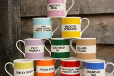 Personalised Hoop Mug Gift Boxed (choice of ten colours)