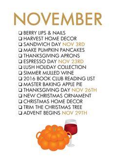 Fall Seasonal Living - November To Do List (2016 - Thanksgiving is Nov 24, Advent starts Nov 27)