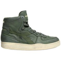 Diadora Heritage Men Mi Basket 84 Leather High Top Sneakers ( 130) ❤ liked  on Polyvore featuring men s fashion, men s shoes, men s sneakers and green 6ba25847e1a