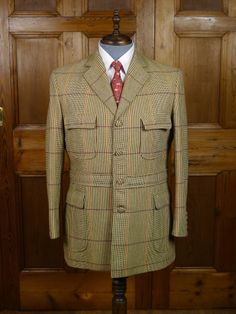 1980s Vintage Mark Powell Soho Bespoke Alsport Tweed Norfolk Jacket