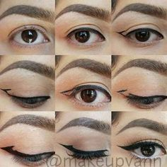 Winged eyeliner for hooded eyes or maybe just a fun idea http://amzn.to/2s3vVGJ