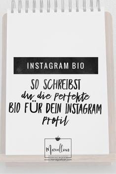 Einer der entscheidenden Gründe, um auf den Follow-Button zu klicken, ist eine gute Instagram Bio. Hier findest du Tipps, wie du die perfekte Bio schreibst! Instagram Bio, Community Manager, Social Media, Marketing, Pictures, Profile, Writing, Tips, Social Networks