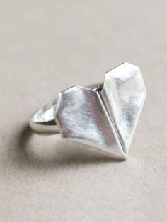 Folded Origami Heart Ring ❥ i used to make these all the time