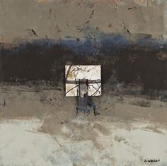 Flight, cold wax and oil paints with collage and agate stone by Donna Watson