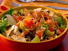 Beef Taco Salad with Chunky Tomato Dressing Recipe : Ellie Krieger : Food Network - FoodNetwork.com
