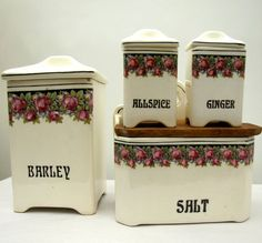 Antique Spice Canister Set late 1800s early 1900s by AustinModern, $46.00