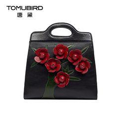 Genuine leather bag free delivery Women bag   Originality hand handbag Rose Fashion Shoulder Messenger Bag