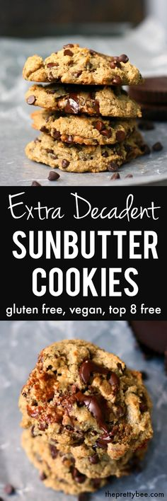 Chewy, gooey, chocolatey and delicious sunbutter cookies are made extra special with the additon of chocolate chips and sun cups. Brownie Desserts, Oreo Dessert, Mini Desserts, Coconut Dessert, Healthy Desserts, Dairy Free Chocolate Chips, Chocolate Recipes, Real Food Recipes, Cooking Recipes