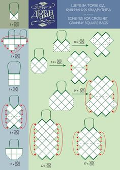 schemes for crochet granny square bags!  good idea for using fabric scraps too
