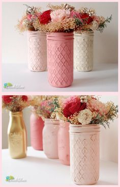 Mason Jar Blush Vases #Valentines #ValentinesDecor #VDay #Love #Blush #Wedding #MasonJar #Ad