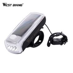 WEST BIKING Multi-function Bike Light&Bell Bicycle Handlebar  Solar Powered USB Rechargeable Front Cycling Headlight
