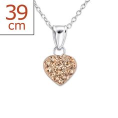 Children's Heart Crystal Real Sterling Silver Necklace
