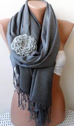 Gray pashmina shawl Bridesmaid pashmina shawls by elegancescarf, $21.00