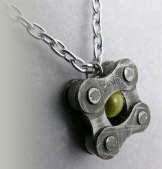 Pendant bike chain yellow glass by WanderingJeweler Recycled Bike Parts, Sport Craft, Bike Chain, Bike Art, Metal Art, Glass Beads, Bicycle, Jewelry Making, Pendant
