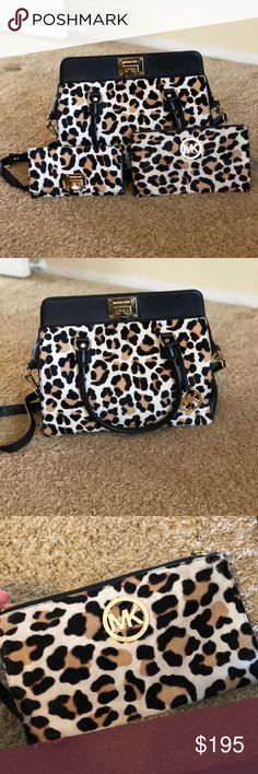 Leopard Michael Kors bag with wallet and wristlet Gently used, like brand new. Comes with matching wallet and wristlet. Michael Kors Bags