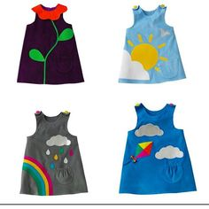 Cute @wildthingdresses Rainbow, clouds and sun dresses.  All hand made and designed in the UK.
