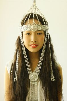 Eurasia: Yakut girl in a headdress, Siberia, Russia