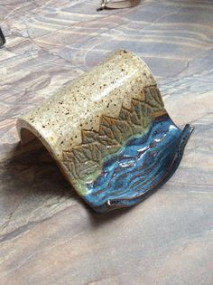 Business Card Holder Stoneware Clay Water Lily by LisaMelitaArt, $15.00