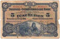 Banknotes - Germany - imperial and countries banknotes to Rosenberg - German colonies 1903-1918 German East Africa: 5 Rupee, 15. 6. 1905, colonial banknote, lion couple in the savannah. Rosenberg 900. IV, small missing parts Dealer Teutoburger Münzauktion GmbH Auction Starting Price: 75.00 EUR
