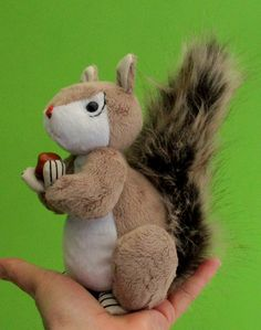 Squirt soft toy squirrel sewing pattern. Completed height 16