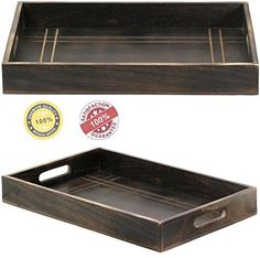 SouvNear Mango Wood Serving Tray with Handles - 16.8 X 11 Inches Large Dark…