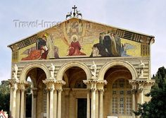 The Church of All Nations, also known as the Church or Basilica of the Agony, is a Roman Catholic church located on the Mount of Olives in Jerusalem, next to the Garden of Gethsemane. It enshrines a section of bedrock where Jesus is said to have prayed before his arrest. (Mark 14:32-42)