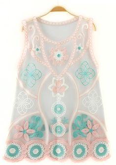 Pink Floral Embroidery Sleeveless T-Shirt---- reminds me of sailor Jupiter