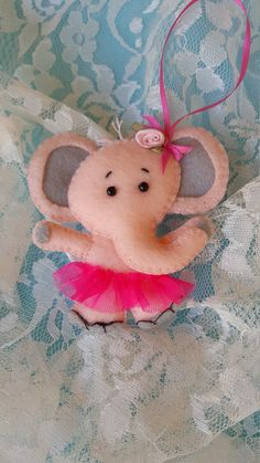 Elephant ornament-Handmade felt elephant by DebsArtsyEnchantment