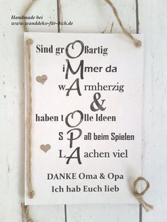 Danke Oma & Opa (Midi) Shabby chic, vintage style signs for all occasions, personalized gift ideas t Birthday Messages, Funny Birthday Cards, Birthday Greeting Cards, Birthday Greetings, Greeting Cards Handmade, Birthday Quotes, Happy Birthday, Birthday Ideas, Birthday Images
