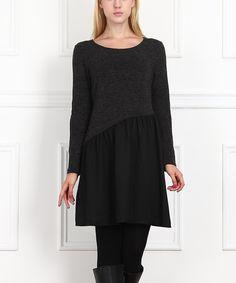 Black & Gray Asymmetrical-Waist Shift Dress - Women