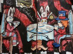 Wonderland art journal page