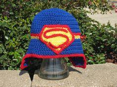 SUPERMAN HAT Superman Earflap Hat by Bluetulipgifts on Etsy, $18.99