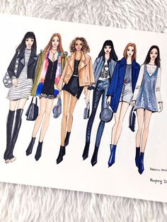 My fashion illustration inspired by Rebecca Minkoff Runway to Retail fashion show! New York Fashion, Fashion Art, Fashion Models, Fashion Show, Fashion Illustration Dresses, Beauty Illustration, Fashion Design Drawings, Fashion Sketches, New Yorker Mode