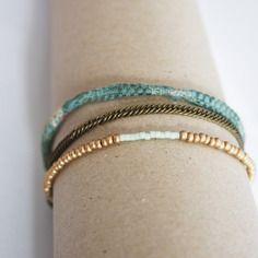 Bracelet 3 rangs vert turquoise
