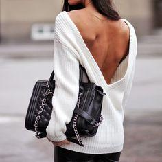 Deep-V Back Sweater