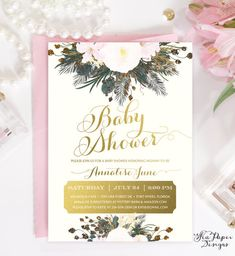 Blush Pink Floral Roses & Gold Foil and Glitter Baby Shower Invitation | Shabby Chic Romantic Printed Invites