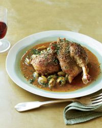 Slow-Cooked Duck with Green Olives and Herbes de Provence Recipe on Food & Wine