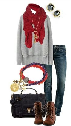 Great sweater, skinny jeans, red scarf.... Don't like the other stuff