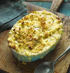 Cauliflower, leek and blue cheese gratin - an easy, comforting midweek meal starring British cauliflower as the main ingredient.