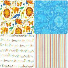 Safari Animals, Floral, Stripes Blue Orange White Fabric Bundle - MMFB124 - Lions, Elephants, Floral, Stripes Fabric Bundle - Blue, Orange, Green, White - Nursery 4 Fat Quarter Fabric Bundle - 4 Fat Quarters (55 x 50 cm pieces) - 100% Cotton