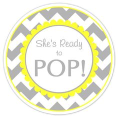 Baby Shower Ready To Pop Labels Gray Chevron And Yellow Stickers