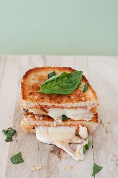 grilled mozzarella with basil and a bowl of spicy tomato soup=comfort food perfection